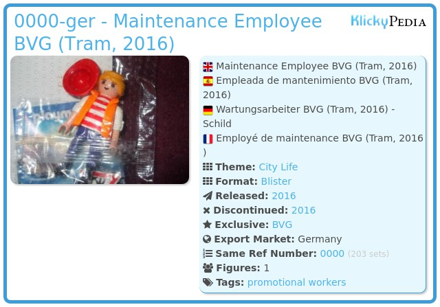 Playmobil 0000-ger - Maintenance Employee BVG (Tram, 2016)