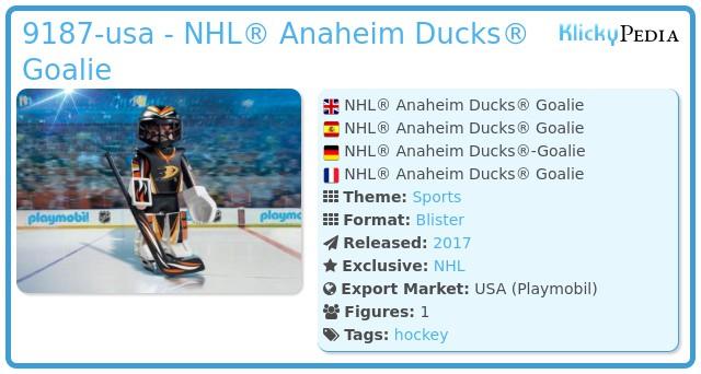 Playmobil 9187-usa - NHL® Anaheim Ducks® Goalie
