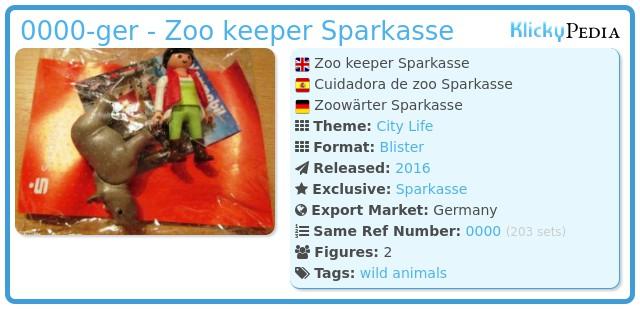 Playmobil 0000-ger - Zoo keeper Sparkasse