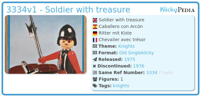 Playmobil 3334v1 - Soldier with treasure