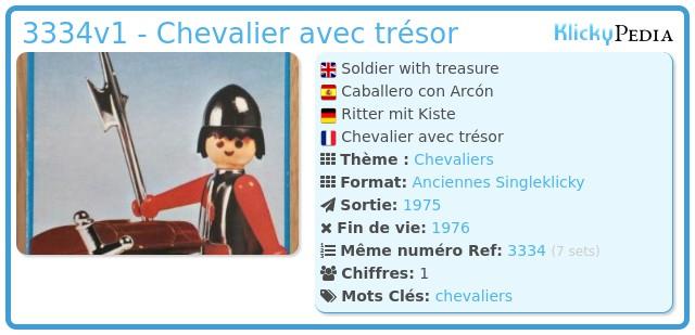 Playmobil 3334v1 - Chevalier avec trésor