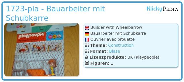 Playmobil 1723-pla - Bauarbeiter mit Schubkarre