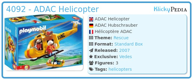 Playmobil 4092 - ADAC Helicopter