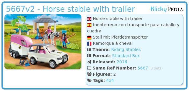 Playmobil 5667v2 - Horse stable with trailer