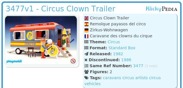 Playmobil 3477v1 - Circus Clown Trailer