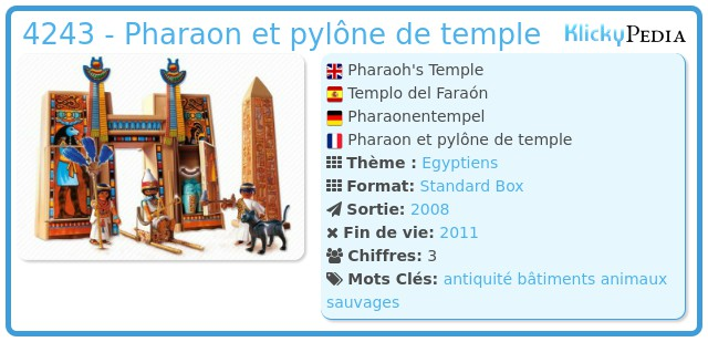 Playmobil 4243 - Pharaon et pylône de temple