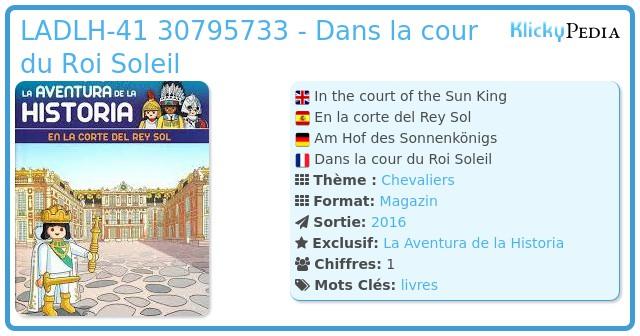 Playmobil LADLH-041 30795733 - Dans la cour du Roi Soleil