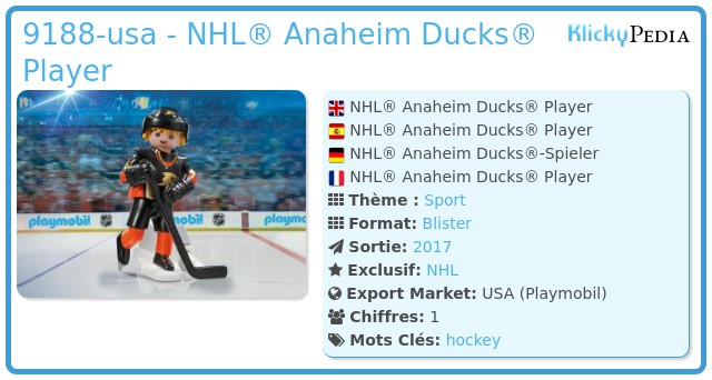 Playmobil 9188-usa - NHL® Anaheim Ducks® Player