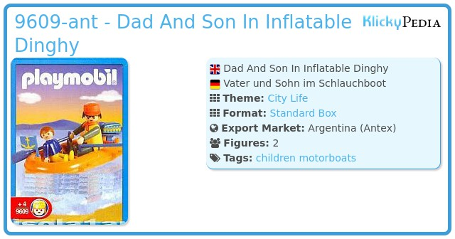 Playmobil 9609-ant - Dad And Son In Inflatable Dinghy