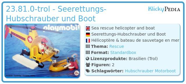 Playmobil 23.81.0-trol - Seerettung-Helikopter und Boot