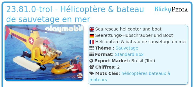 Playmobil 23.81.0-trol - Hélicoptère & bateau de sauvetage en mer