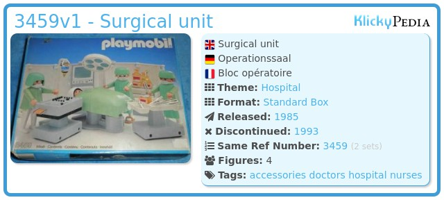 Playmobil 3459v1 - Surgical unit