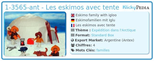 Playmobil 1-3565-ant - Les eskimos avec tente
