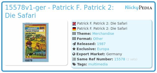 Playmobil 15578-ger - Patrick F. Patrick 2: Die Safari