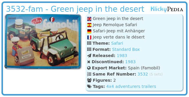 Playmobil 3532-fam - Green jeep in the desert