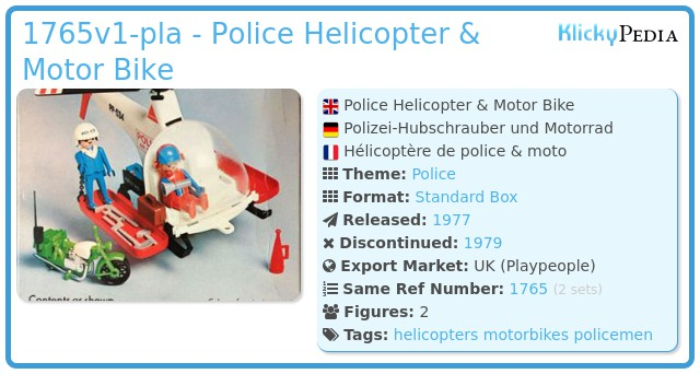 Playmobil 1765v1-pla - Police Helicopter & Motor Bike