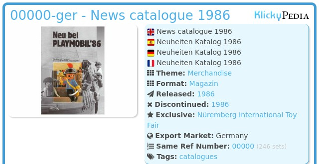 Playmobil 00000-ger - News catalogue 1986