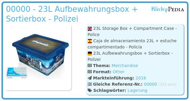 Playmobil 00000 - 23L Aufbewahrungsbox + Sortierbox - Polizei