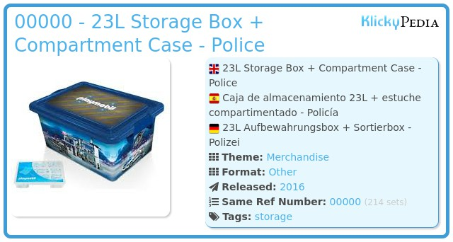 Playmobil 00000 - 23L Storage Box + Compartment Case - Police