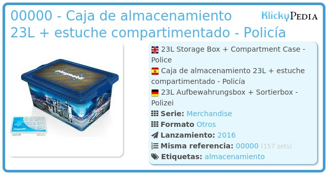 Playmobil 00000 - Caja de almacenamiento 23L + estuche compartimentado - Policía
