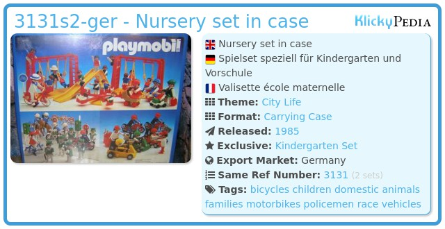 Playmobil 3131s2-ger - Nursery set in case