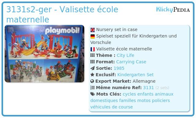 Playmobil 3131s2-ger - Valisette école maternelle