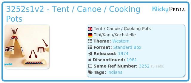 Playmobil 3252s1v2 - Tent / Canoe / Cooking Pots