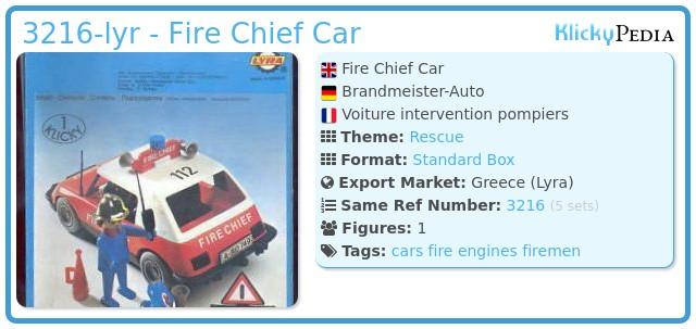 Playmobil 3216-lyr - Fire Chief Car