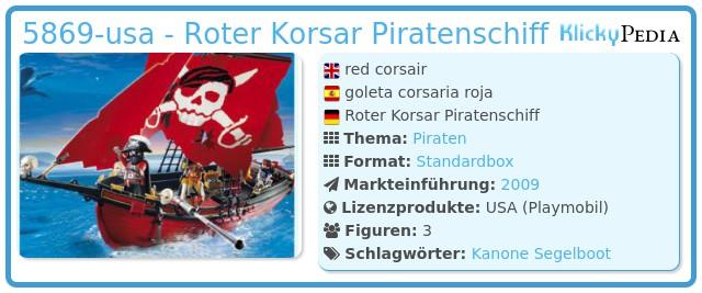 Playmobil 5869-usa - Roter Korsar Piratenschiff