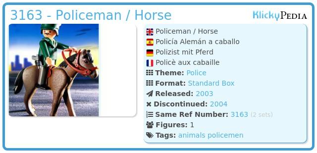 Playmobil 3163 - Policeman / Horse