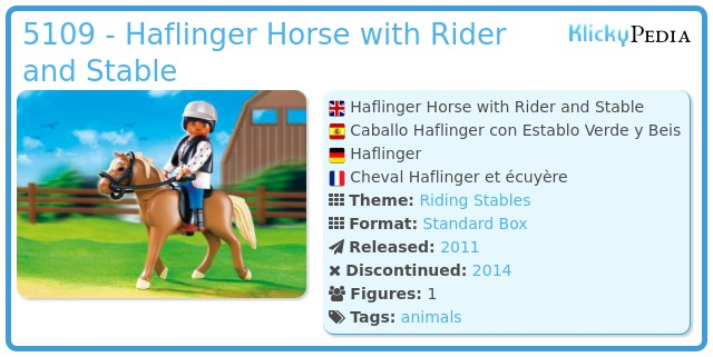 Playmobil 5109 - Haflinger Horse with Rider and Stable