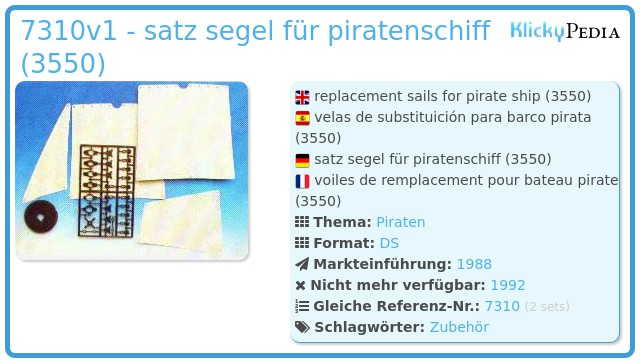 Playmobil 7310v1 - satz segel für piratenschiff (3550)