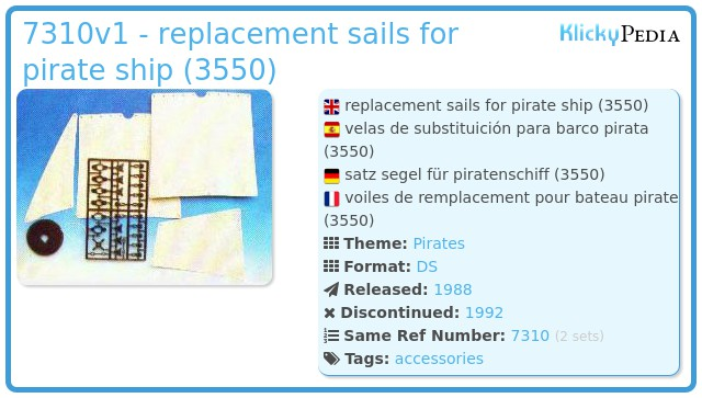 Playmobil 7310v1 - replacement sails for pirate ship (3550)