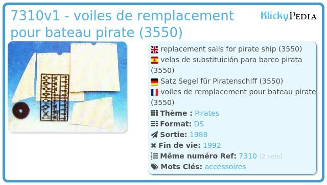 Playmobil 7310v1 - voiles de remplacement pour bateau pirate (3550)