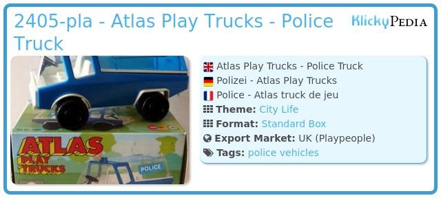 Playmobil 2405-pla - Atlas Play Trucks - Police Truck