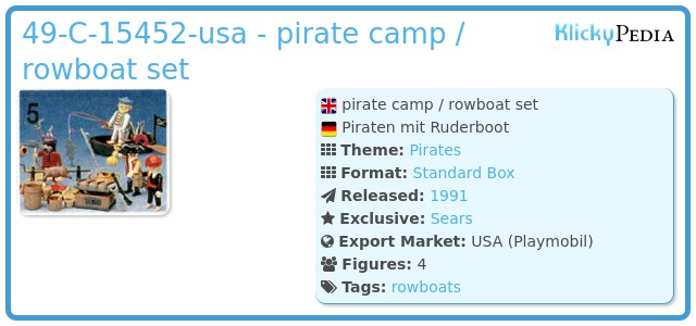 Playmobil 49-C-15452-usa - pirate camp / rowboat set