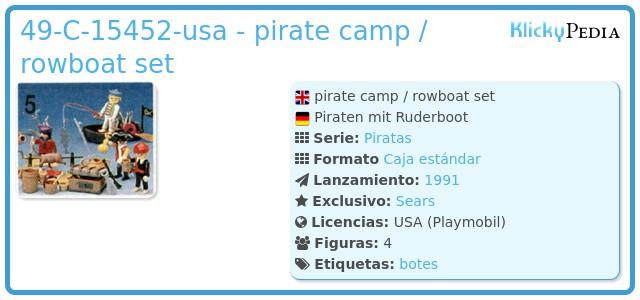 Playmobil 49-C-15452-usa - pirate camp / rowboat set