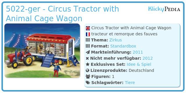 Playmobil 5022-ger - Circus Tractor with Animal Cage Wagon
