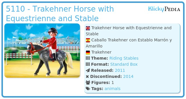 Playmobil 5110 - Trakehner Horse with Equestrienne and Stable