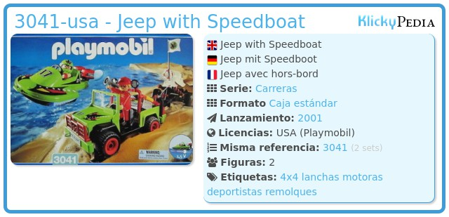 Playmobil 3041-usa - Jeep with Speedboat