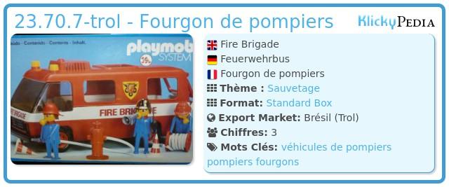 Playmobil 23.70.7-trol - Fourgon de pompiers