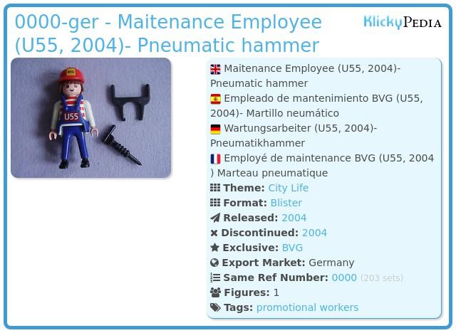 Playmobil 0000-ger - Maitenance Employee (U55, 2004)- Pneumatic hammer