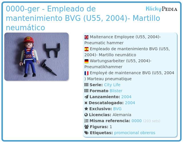 Playmobil 0000-ger - Empleado de mantenimiento BVG (U55, 2004)- Martillo neumático