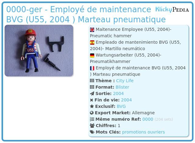 Playmobil 0000-ger - Employé de maintenance BVG (U55, 2004 ) Marteau pneumatique