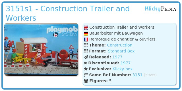 Playmobil 3151s1 - Construction Trailer and Workers