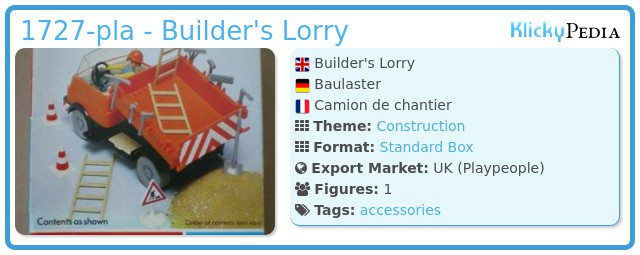 Playmobil 1727-pla - Builder's Lorry
