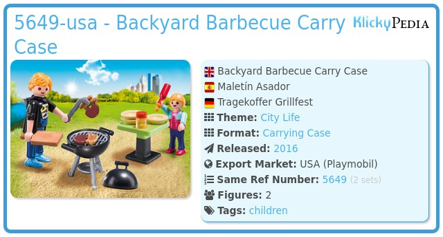 Playmobil 5649-usa - Backyard Barbecue Carry Case