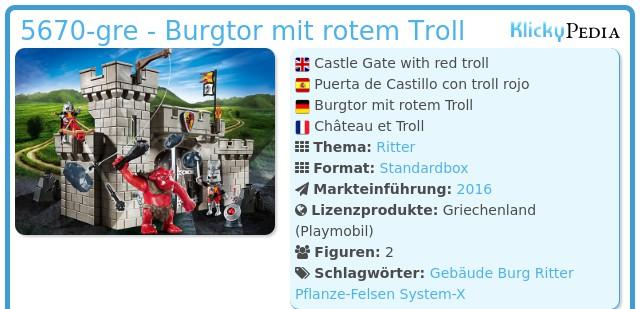 Playmobil 5670-gre - Burgtor mit rotem Troll