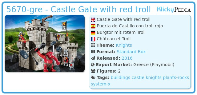 Playmobil 5670-gre - Castle Gate with red troll