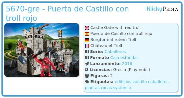 Playmobil 5670-gre - Puerta de Castillo con troll rojo